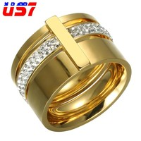 US7 Cool 15mm Big 3 Layers Rings 316L Stainless Steel Zircon Female Ring Wedding Engagement Jewelry Fashion