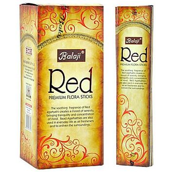 Balaji Red Premium Flora Incense - 15 Sticks Pack (12 Packs Per Box)