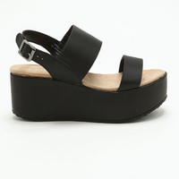 BLACK LEATHERETTE STRAP WEDGES