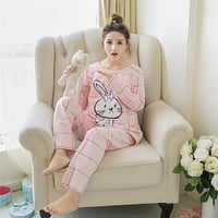 Mamalove Spring Autumn Long Sleeve Pregnant Maternity Pajamas Nursing Pajamas Set Sleep Clothes Sleepwear for Pregnant Women