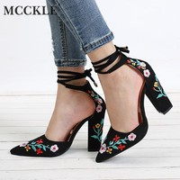 MCCKLE Women High Heels Plus Size Embroidery Pumps Flower Ankle Strap Shoes Female Sexy Party Wedding Shoe Pointed Toe Footwear