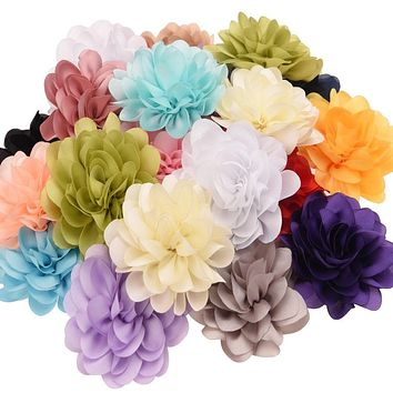 20pcs Chiffon ruffled 6cm Hair Flower Hair Accessories DIY Accessory Wedding decoration flower Without Clips