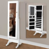 Walmart: White Mirrored Jewelry Cabinet Amoire w Stand Mirror Rings, Necklaces, Bracelets