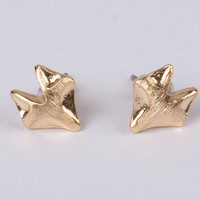 fox earrings sliver post plated gold silver  stud earrings pair women earrings cute
