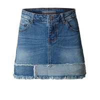 Casual Vintage Frayed A-Line Mini Denim Skirt (CLEARANCE)