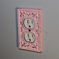 Candy Pink Decorative Electrical Outlet Plate /Plug-in Cover/ Fleur de lis/ Bright Cast Iron/ Painted Metal/ Shabby Chic