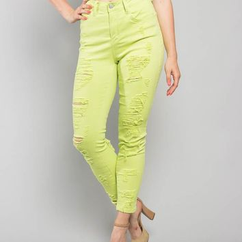 Neon Double Distressed Skinny Jeans