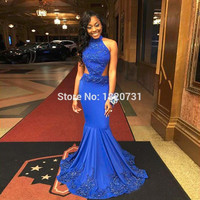 2017 Sexy Backless Blue Halter Mermaid Prom Dresses with Applique Formal Party Gown African vestidos do baile de finalistas