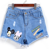 Blue Mickey Print Ripped Denim Shorts