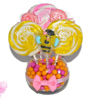 Small Pink and Yellow Bumble Bee Lollipop Candy Centerpiece, Bee Baby Shower, Bumble Bee Theme, Candy Buffet, Baby Shower, Birthday, Baby