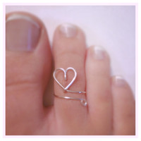Silver Heart Toe Ring Adjustable Wire