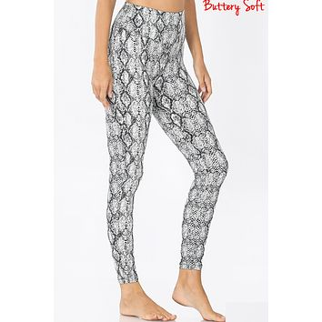 Snake Print Brushed Microfiber Leggings