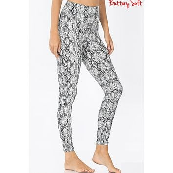 Active Snake Print Brushed Microfiber Full Length Leggings Pants