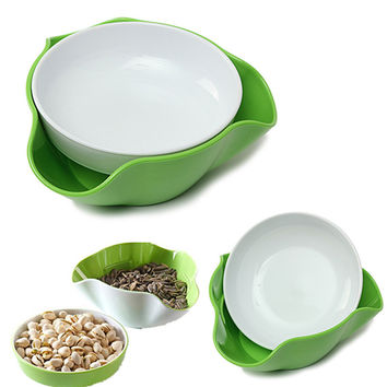 New 2 In 1  Environmental Fruit Compote Split Double Bowl