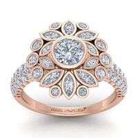 AMAZING 2.27CT WHITE ROUND 925 ROSE STERLING SILVER ENGAGEMENT RING FOR HER