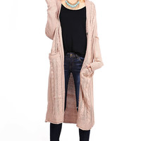 Longline Cable Maxi Cardigan