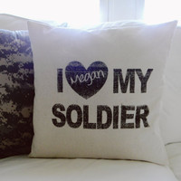 Personalized I Love My Soldier 16 x 16 Pillow Cover, Military, patriotic, present, houswarming gift, 4th of July, Army