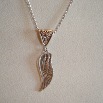 Sterling Silver Angel Wing Necklace - Angel Wing on Bail - Fine Jewelry - Great Gift