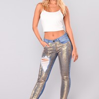 Solar Wind Sequin Jeans - Gold