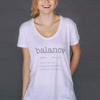 """BALANCE"" White Swoop Neck"
