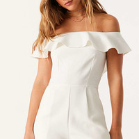 Oh My Love Waterlilly Off-The-Shoulder Ruffle Romper - Urban Outfitters