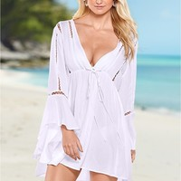 Bell Sleeve Cover-Up in White | VENUS