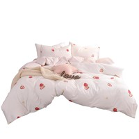 Red Strawberry print 100% cotton 3pcs/4pcs bedding sets, flat sheet pillowcase duvet cover set kids bed cover set white