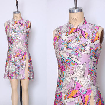 Vintage 60s BUTTERFLY Mini Dress Lavender Tunic PSYCHEDELIC Printed Dress 60s Tunic Top