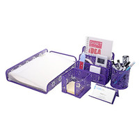 Crystallove Metal Mesh Desk Accessories Office Products Organizer Set of 5pcs-Document Tray, Mail Sorter, Pencil Cup, Memo Holder and Business Card Holder (Purple-Style 2)