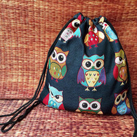 Cute Owls Drawstring Backpack Boho Canvas Tote Tribal Style fabric Festival Beach Bags Bohemian Woven Hippie Rucksack Hipster Nepali blue