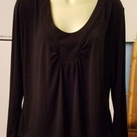 Versailles black blouse womens top size large long sleeve scoop neck ladies