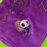 Nightmare Before Christmas JACK SKELLINGTON  Blanket PERSONALiZED Throw PLUSH CUSToM EMBRoIDERED So SNUggLY & SoFT BoUTIQUE Custom Design