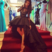 black lace prom dresses Sheer celebrity dress long sleeves high low organza long party gowns bateau formal gowns