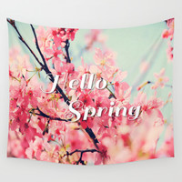 Hello Spring Wall Tapestry by Sweet Colors Gallery