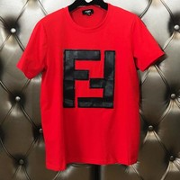 FENDI Trending Women Men Stylish Round Collar Red T-Shirt Top Tee