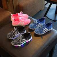 2016 Eur21-36 Autumn LED Shoes kids Light Up Shoes Casual Children Shoes with Light Girls Boys Sneaker with Light for Kids TX111