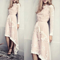 Round-neck Long Sleeve Irregular Lace Women's Fashion One Piece Dress [4919133892]
