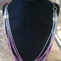 Fushia Necklace - Water Lily Pad Strands - Multistrand Fushia Pink and White Bead Necklace