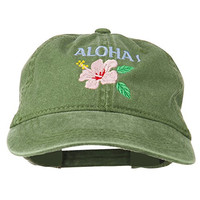 Hawaii Flower Aloha Embroidered Washed Cap - Olive Green OSFM