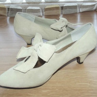 Vintage 80s Neo Victorian Bow Strap Mary Jane Pumps High Heel Shoes 7 Steampunk Suede Leather