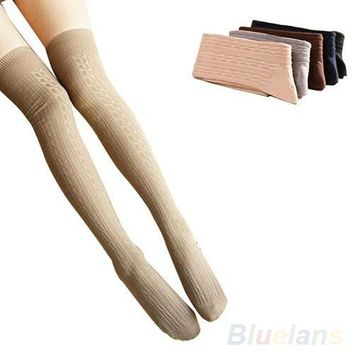 Cotton Women Girls Knit Over Knee Thigh Stockings High Socks Pantyhose Tights [8321369799]