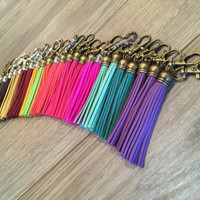 Tassel keychain, clip on tassel, clip on bag charm, tassel charm with lobster clasp, swivel tassel keychain