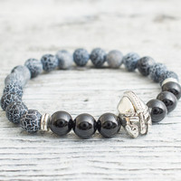 Crackled black agate and black onyx beaded silver Spartan helmet stretchy bracelet, yoga bracelet, mens bracelet, womens bracelet