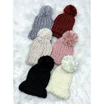 Knit Pom Pom Beanie - Multiple Colors