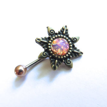 Pink Opal Starburst Belly Button Ring