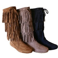 Womens Fringe Boots Moccasin Mid Calf Flat New Black Brown Size  3 Tier Layer
