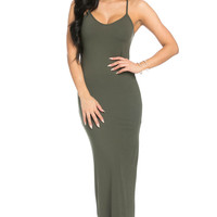 Micro Suede Olive Maxi Dress