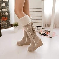 Snow Boots Wedges Knee-high Slip-resistant Boots Thermal Cotton-padded Warm Plush