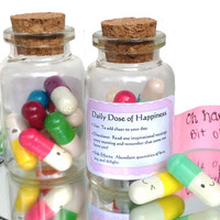 Cute Happy Pill Novelty Gift - Kawaii Message in a Bottle - Happy Face Pills - Miniature greeting card stationary