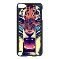 Change Newest Fashion Luxury Tiger Roar Cross Cover Quote Case for iPod Touch 5 (Aclassic 15)